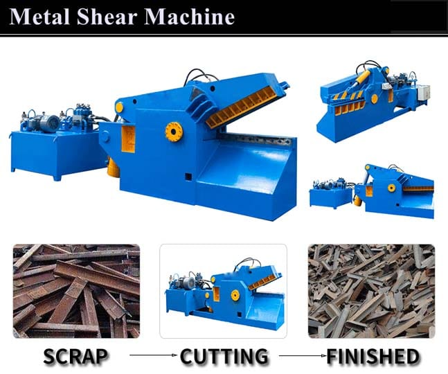 Jaw type metal shears for cutting iron plates