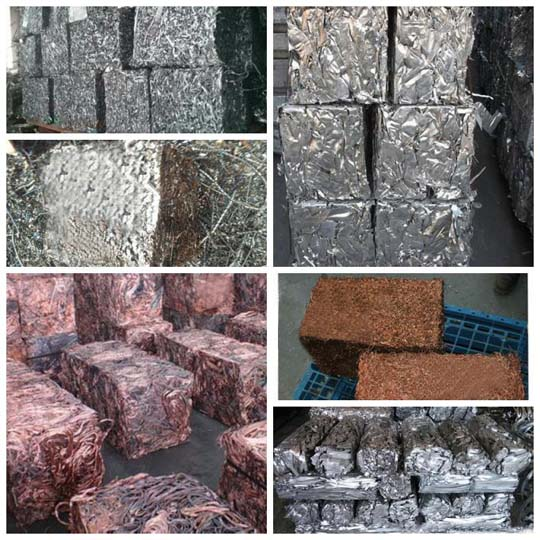 baled scrap metal blocks