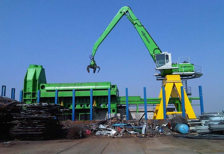 large metal shears using in recycling plant