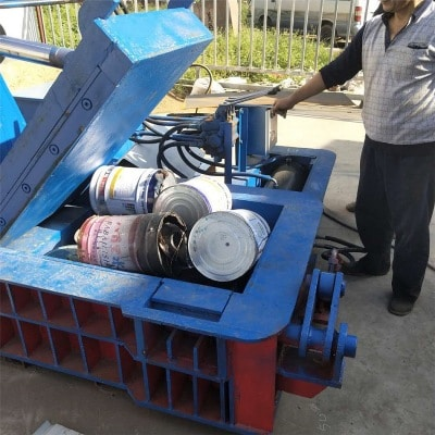waste cans baling process